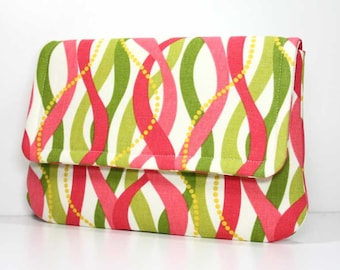 SALE - Clutch Purse - Coral and Green on Cream with 2 Interior Pockets - Ready to Ship