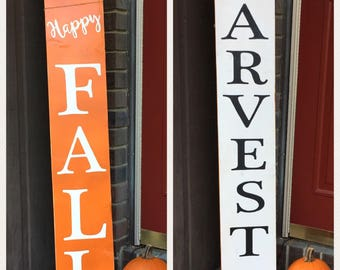 "Handpainted wooden ""Harvest"" or ""Happy Fall"" sign, porch decor, garden ornament, deck decor, spring decor, Father's Day gift, fall decor"