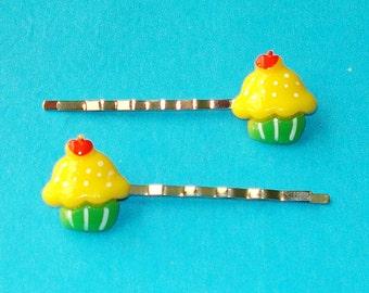 LAST ONE! Yellow Lemon Cupcake Super Yummy Delicious Kawaii Pastel Kitsch Fun Bobby Pins - Set of 2