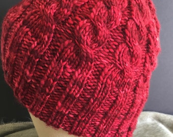 Red Velvet Cabled Hat