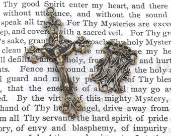 Rosary Set - French Filigree - French Crown - Sterling Silver or Bronze - Ave Maria - Vintage Reproduction - Made in the USA (368/376)