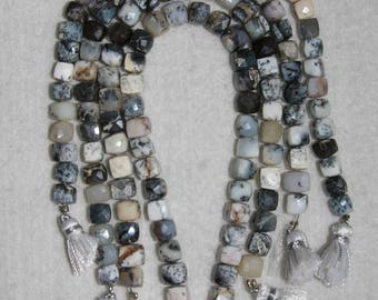 Opal, Dendritic Opal, 6.5-7 mm, Dendrite Opal Cube, Faceted Cube, Natural Stone, Semi Precious, Black White, HALF Strand, AdrianasBeads