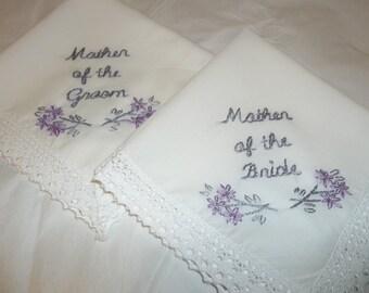 Mother of bride, mother of groom weddinf, set of 2,  hand embroidered, bouquet wrap, wedding favors, hanky, hankerchief,