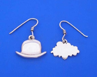 Silver Hat Cloud Surrealism Magritte Earrings , Hand Made Solid Silver , Jewellery , Jewelery