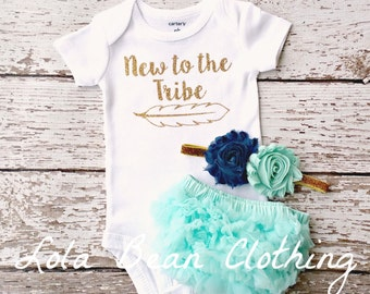 Baby Girl Outfit New to the Tribe Baby Girl Take Home Outfit Bloomers Headband Set Mint Headband Coming home outfit