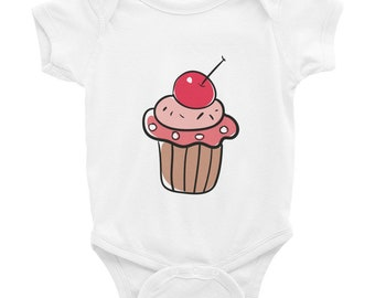 Yummy Cupcake With Cherry Infant Bodysuit