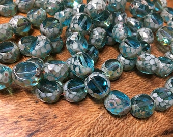 Transparent Aqua Table Cut Faceted Czech Pressed Glass Rounds with Picasso Finish 12mm 0695