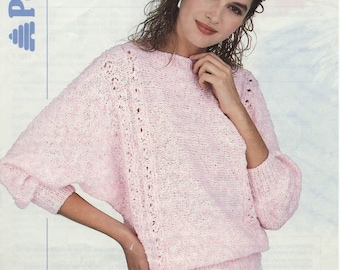 Women's Sweater Sea Spray Knitting Pattern Book 8722 (Dolman sweater with lace panels); Very Good; USED