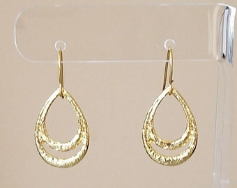"Gold Plated 1"" Oval Teardrop Dangle Drop Boho Hook Earrings Womens Fashion Jewelry Made in USA"
