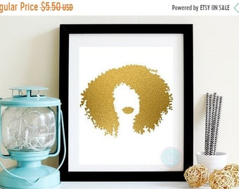 13% OFF SALE- PRINTABLE Art Gold Foil Afrocentric Artwork African American Woman Poster Natural Hair Art Woman Of Color Gold Wall Hanging Ha