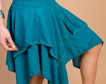 Moss Crepe Pixie Skirt M148 (Dance, movement, Elven, whimsical, hooping, folklore, festival, fairy, one size)
