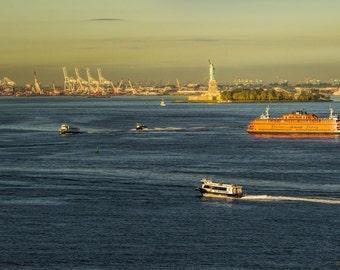 Brooklyn Bridge,Manhatten,Statue of Liberty,Staten Island Ferry,Sunrise,Panoramic,Photography,NYC,Home Decor,Wall Art,Office Decor,Orange