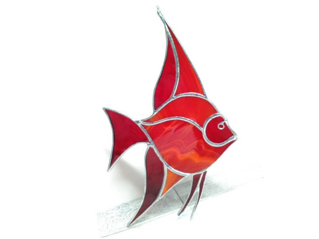 Angelfish Suncatcher Window Decoration Red fish art for
