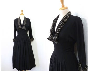 1940s dress Black Crepe Polka dots tie Vintage 40s dress David Westheim New York dress