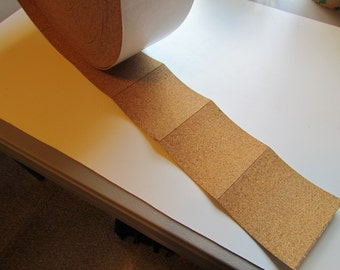 """56 - 4"""" x 4"""" Adhesive backed cork for coasters - Cork Sheets - Cork Squares - Cork for Coasters - Adhesive Cork - Adhesive Backed Cork"""