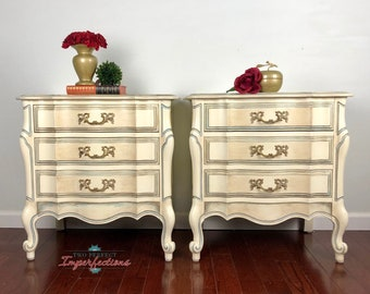 Set of two Elegant 3 drawer French Provincial Nightstands or Endtables