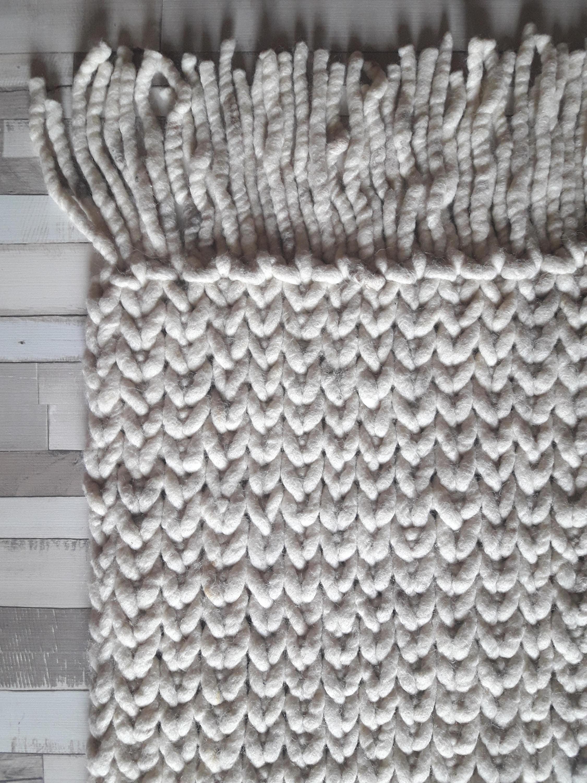 Geflochtene Wolle Teppich Super dicken Wolle reversibel