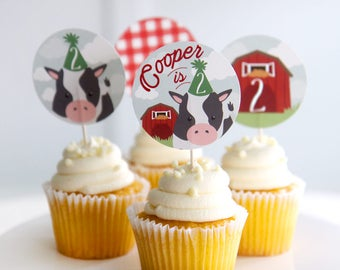 Printable farm birthday cupcake toppers - Party til the cows come home - Barnyard - Cow with party hat - Second birthday - Customizable