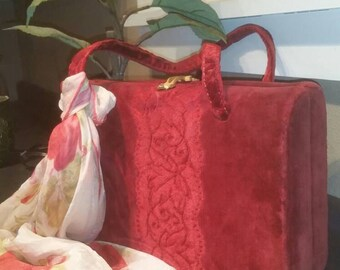 Vintage Handbag - Vintage Purse - Boho Handbag - Hippie Handbag - Red Velvet Handbag - Bohemian Handbag - Bohemian Purse - Red Handbag