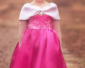 Sleeping Beauty Princess Aurora Costume, Aurora Dress Birthday Princess, Kids Satin Costume - Knee Length
