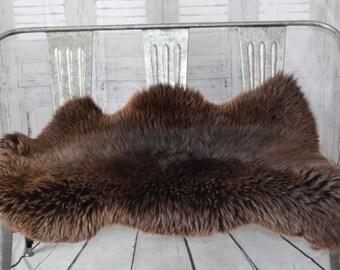 "XL Large Natural Brown Genuine Sheepskin Fur Throw Rug 50"" X 29"" 31410 Hide or Pelt"