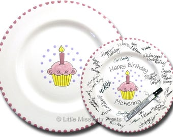Free Shipping -Hand Painted Signature Birthday Plate - Pink Cupcake - Happy Birthday Plate - 1st Birthday - Birthday Cupcake - Birthday Gift