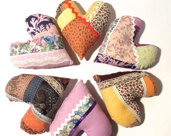 Handmade Hand Stitched Crazy Quilted Heart Pillows with Vintage and New Fabric/Door Hangers/Cottage Shabby Chic Amazement/Collection