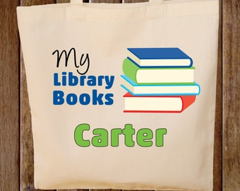 Library Book Bag Tote Bag Boys Tote Bag  - Any wording -- Library Books Tote Bag