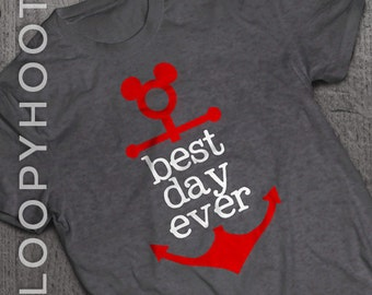 "Disney Cruise Shirts ""Best Day Ever"" Mouse Anchor Family Vacation shirt in Deep Heather GRAY"
