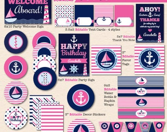 "Girls' Pink & Navy ""Sail Away"" Nautical Birthday Party - DIY/Printable Complete Party Pack- Instant Download PDF File"
