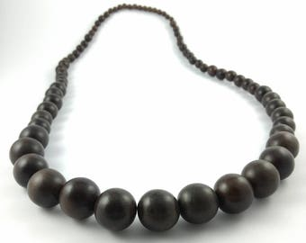 Big Beads Necklace - Choclate Brown - Retro - Wooden Bead Jewelry - Statement Necklace - Natural Jewelry - Boho - Retro Brown - Vintage