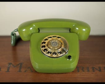 Vintage telephone, rotary dial phone, made in germany, Krone, bottle green, retro, interior decoration, home decor