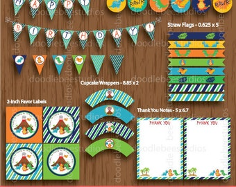 Dinosaur Printable Party Package, Dinosaurs Party Package, Dinosaur Party Decorations, Instant Download Dinosaur Party Pack