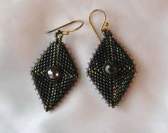 Diamond-Shaped Beaded Earrings