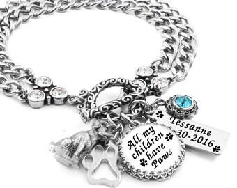 Dog Bracelet, Dog Jewelry, Memorial Jewelry, Memorial Bracelets, Remembrance Bracelets, Dog Charm Bracelet
