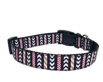 """1"""" Wide Medium or Large Adjustable Side Release Buckle Dog Collar - Chevron and Stripes Black White Orange and Red"""