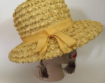 Vintage Melinda Original Yellow Raffia Wide Brim Hat with Tassels c. 1960's