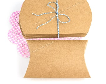 25 - Kraft Pillow Boxes - 3.5 x 5 x 1-1/8 inches - DIY Packaging Wedding Party Favors Products Gift Box