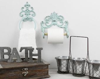 Marvelous Toilet Paper Holder,Towel Ring,Shabby Chic Bathroom Decor
