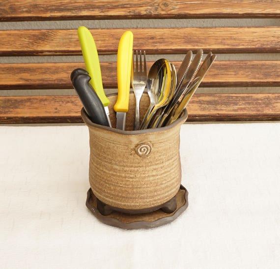 cutlery holder ceramic silverware container kitchen cutlery
