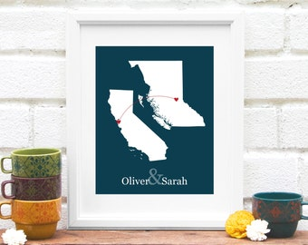 State and Province Heart Map, Two Location Miss You Gift, Long Distance Map, Canadian Province and US State Heart Connection Map- Art Print