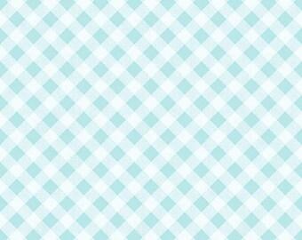 Riley Blake Sew Cherry 2 by Lori Holt Aqua Blue Gingham 5808-AQUA Cotton Quilting Fabric by the Half Yard - DLP