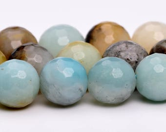"10MM Faceted Amazonite Natural Gemstone Half Strand Round Loose Beads 7.5"" (100884h-318)"