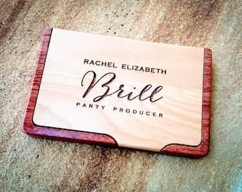 Custom monogrammed business card holder personalized business business card case personalized wood case custom engraved card holder maple rosewood colourmoves