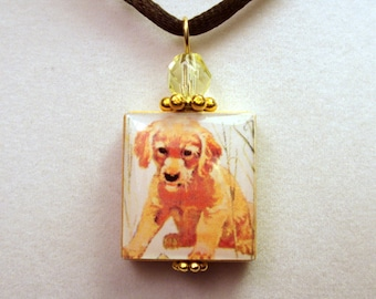 GOLDEN RETRIEVER Jewelry / Beaded SCRABBLE Pendant / Charm / Unusual Gifts