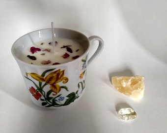 Yellow Flower Teacup Candle