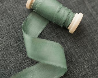 Sage Green Silk Ribbon;  100% Silk; Wedding bridal bouquet, invitations, wedding favors, wedding photography styling