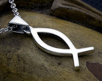 Sterling Silver Ichthus Christian Fish Necklace Pendant
