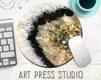 Black and Gold Geode Mousepad, Gemstone Mouse Pad, Crystal Mousepad, Gold and Black Crystal MousePad, Geode Slice, Office Decor, Office Gift