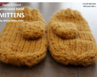 HAND-KNIT MITTENS, knitted mittens, mustard yellow mittens, winter mittens, chunky mittens, cozy soft mittens, knit gloves, winter gloves